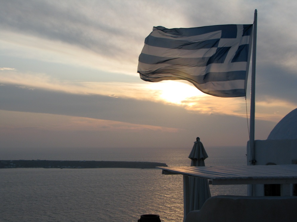 Sunset with Greek Flag, Santorini, Greece